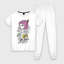 Пижама хлопковая женская Криминальное чтиво 2020 цвета белый — фото 1
