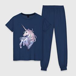 Пижама хлопковая женская Красивый единорог цвета тёмно-синий — фото 1