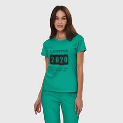 Пижама хлопковая женская 2020 - я выжил цвета зеленый — фото 2