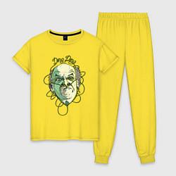 Пижама хлопковая женская Гектор Саламанка цвета желтый — фото 1
