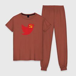 Пижама хлопковая женская Team Trump цвета кирпичный — фото 1
