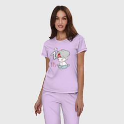 Пижама хлопковая женская BTS sleep цвета лаванда — фото 2