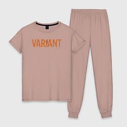 Пижама хлопковая женская Variant цвета пыльно-розовый — фото 1