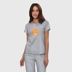Пижама хлопковая женская Хомяк мем цвета меланж — фото 2