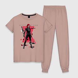 Пижама хлопковая женская Black Widow цвета пыльно-розовый — фото 1