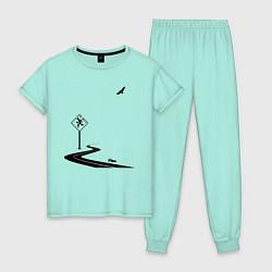 Пижама хлопковая женская Одиночество длинной дистанции цвета мятный — фото 1