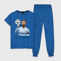 Пижама хлопковая женская Silva Bernardo Манчестер Сити цвета синий — фото 1