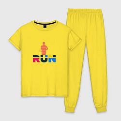 Пижама хлопковая женская Run Сolor цвета желтый — фото 1