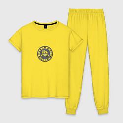 Пижама хлопковая женская Run today цвета желтый — фото 1