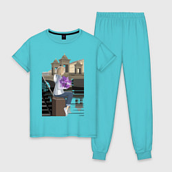 Пижама хлопковая женская БЕЛАЯ НОЧЬ цвета бирюзовый — фото 1