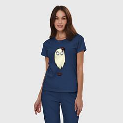 Пижама хлопковая женская Приведение Венди цвета тёмно-синий — фото 2