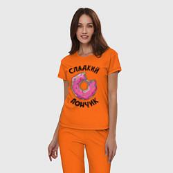 Пижама хлопковая женская Сладкий пончик цвета оранжевый — фото 2