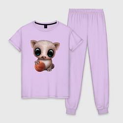 Пижама хлопковая женская Свинка - Баскетбол цвета лаванда — фото 1