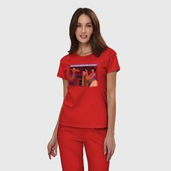 Пижама хлопковая женская After Party цвета красный — фото 2