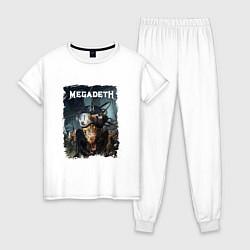 Пижама хлопковая женская Megadeth Poster Z цвета белый — фото 1