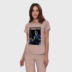 Пижама хлопковая женская Арнольд Шварценеггер цвета пыльно-розовый — фото 2