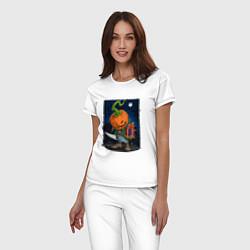 Пижама хлопковая женская Жуткий подарок цвета белый — фото 2