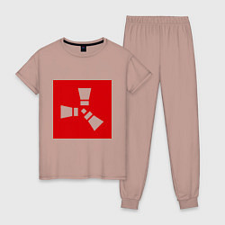 Пижама хлопковая женская Rust цвета пыльно-розовый — фото 1