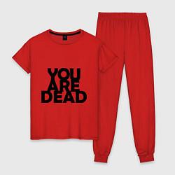 Пижама хлопковая женская DayZ: You are Dead цвета красный — фото 1