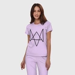 Пижама хлопковая женская Watch Dogs цвета лаванда — фото 2