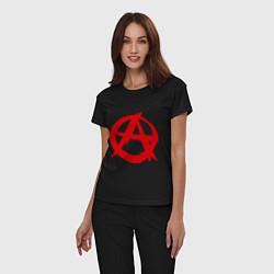 Пижама хлопковая женская Символ анархии цвета черный — фото 2