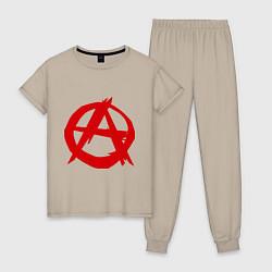 Пижама хлопковая женская Символ анархии цвета миндальный — фото 1