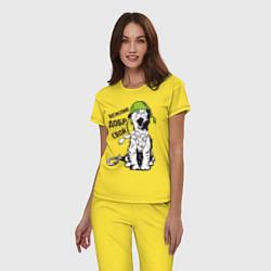 Пижама хлопковая женская Вежливый котик цвета желтый — фото 2