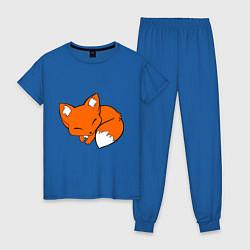 Пижама хлопковая женская Спящий лисёнок цвета синий — фото 1
