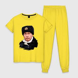 Пижама хлопковая женская Путин военный цвета желтый — фото 1