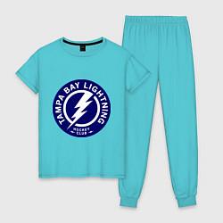 Пижама хлопковая женская HC Tampa Bay Lightning цвета бирюзовый — фото 1