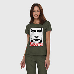 Пижама хлопковая женская Putin Obey цвета меланж-хаки — фото 2
