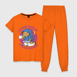 Пижама хлопковая женская Дружба- понятие круглосуточное цвета оранжевый — фото 1
