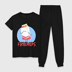 Пижама хлопковая женская Молоко цвета черный — фото 1