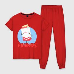 Пижама хлопковая женская Молоко цвета красный — фото 1