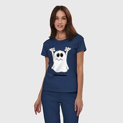 Пижама хлопковая женская Привидение цвета тёмно-синий — фото 2