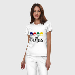 Пижама хлопковая женская The Beatles Heads цвета белый — фото 2