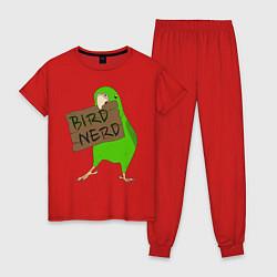 Пижама хлопковая женская Bird Nerd цвета красный — фото 1
