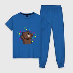 Пижама хлопковая женская Мишка в серпантине цвета синий — фото 1