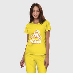 Пижама хлопковая женская KTM белый цвета желтый — фото 2