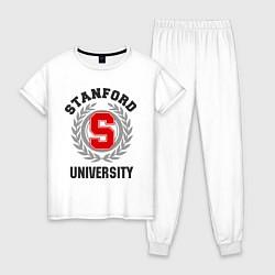 Пижама хлопковая женская Stanford University цвета белый — фото 1