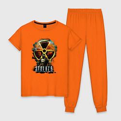 Пижама хлопковая женская STALKER: Soldier цвета оранжевый — фото 1