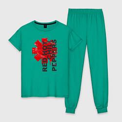 Пижама хлопковая женская Red Hot Chili Peppers цвета зеленый — фото 1
