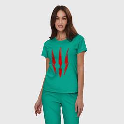 Пижама хлопковая женская Ведьмак 3 цвета зеленый — фото 2