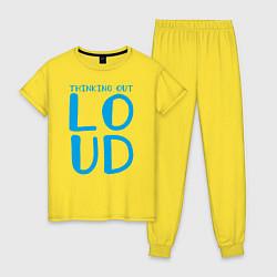 Пижама хлопковая женская Thinking Out: Loud цвета желтый — фото 1