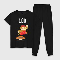 Пижама хлопковая женская Mario: 100 coins цвета черный — фото 1