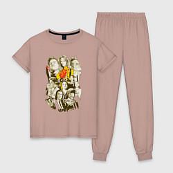 Пижама хлопковая женская Герои Тарантино цвета пыльно-розовый — фото 1