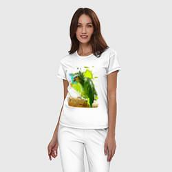 Пижама хлопковая женская Зеленый попугай цвета белый — фото 2
