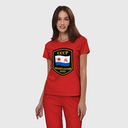 Пижама хлопковая женская Тихоокеанский флот СССР цвета красный — фото 2