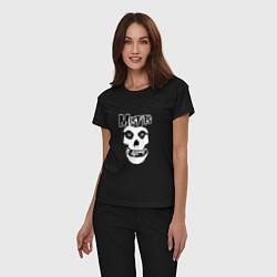 Пижама хлопковая женская Отбросы цвета черный — фото 2
