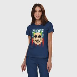 Пижама хлопковая женская The Prodigy: Dali USA цвета тёмно-синий — фото 2